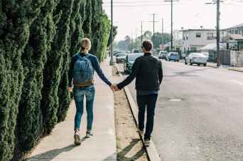 road couple girl walk